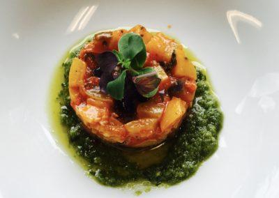 Vorspeise VI gebratenes Gemüse auf Pesto 2952 PIX